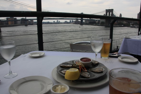 Oysters at restaurant at Pier 17.
