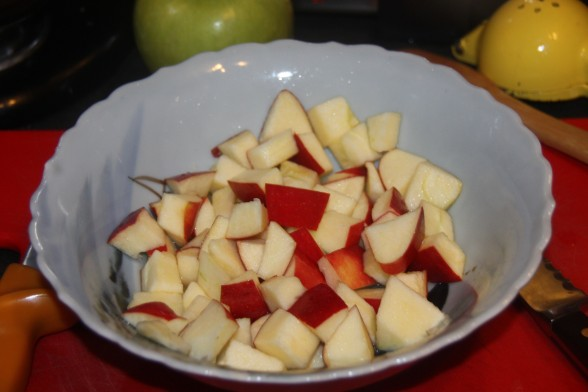 Add lemon juice to apple dices before they oxidize, which takes about 7 minutes.